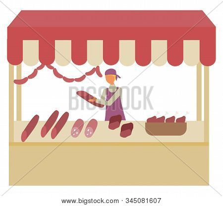 Butchery Shop At Marketplace Isolated Seller With Sausages In Hands. Vector Meat Store At Market, Sh