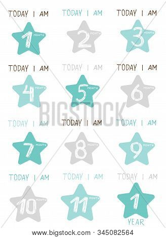 Cute Baby Milestone Cards. Can Use For Monthly Baby Picture Cards And Baby Shower Gift.