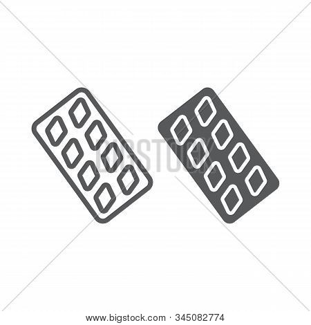 Erection Pills Line And Glyph Icon, Health And Pharmacy, Drug Sign, Vector Graphics, A Linear Patter
