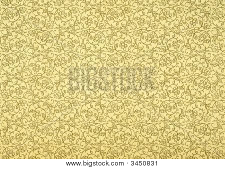 Vintage Wallpaper In Beige With Spirals