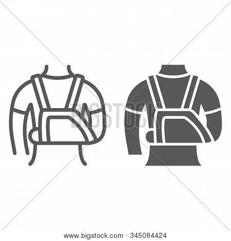 Shoulder Immobilzer Line Icon, Medical And Healthcare, Shoulder Bandage Sign, Vector Graphics, A Lin