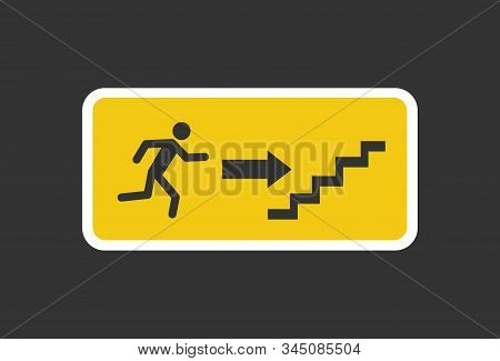 Exit Sign. Emergency Fire Exit Sign. Man Figure Running To Doorway. Running Man Icon To Door.