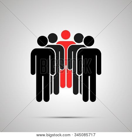 Peoples Silhouette With Red Leader, Simple Black Icon With Shadow On Gray