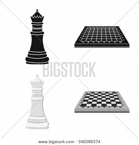 Vector Design Of Checkmate And Thin Icon. Collection Of Checkmate And Target Stock Vector Illustrati