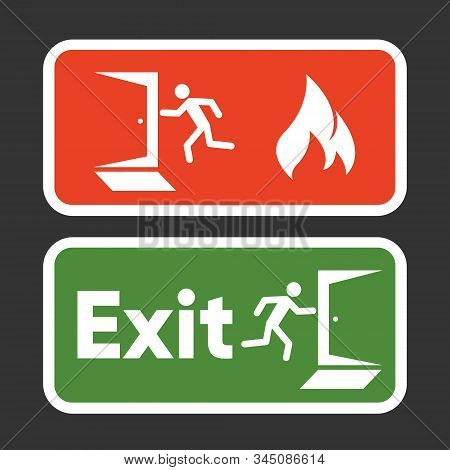 Exit Fire Signs Set. Emergency Exit. Man Figure Running To Doorway. Plate Fire Exit. Vector