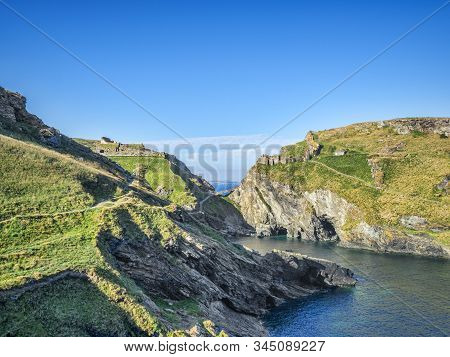 The Ruins Of Tintagel Castle, Cornwall, England, Uk, On The Mainland And The Island, Seen From The S