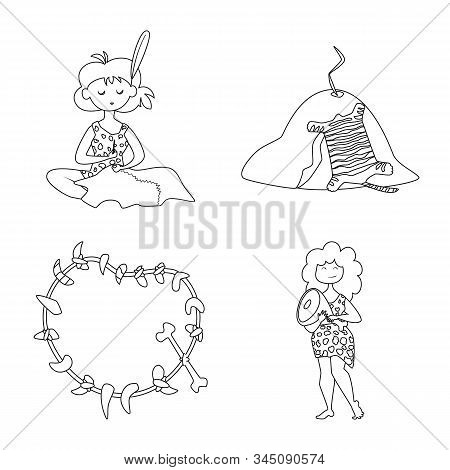 Vector Illustration Of Primitive And Archeology Sign. Set Of Primitive And History Vector Icon For S