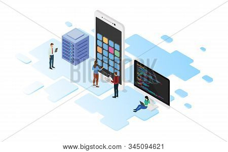 Mobile App Development With Programming Language And Server With Team Developer And Isometric Design