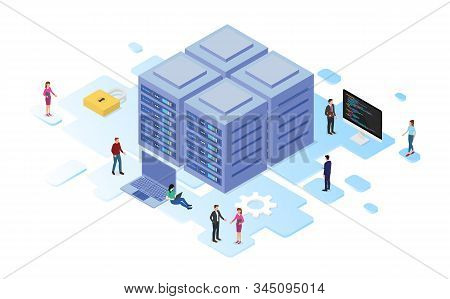 Data Center Or Server Room Processing Data Operation With Security Protection And Maintenance With I