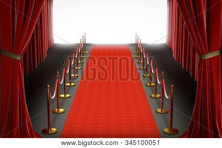 entrance of a theater, red carpet with curtains and barriers with velvet rope, large bright white screen in the center. exclusivity concept. 3d render.