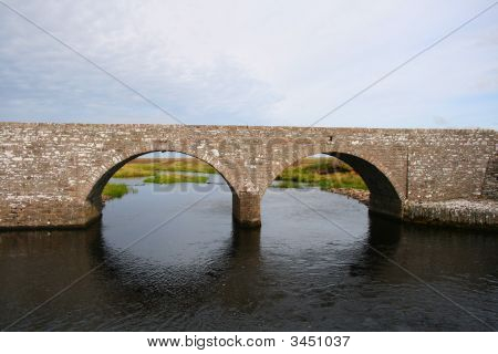 Stone bridge over the famous salmon river Thurso in the highlands of Scotland poster