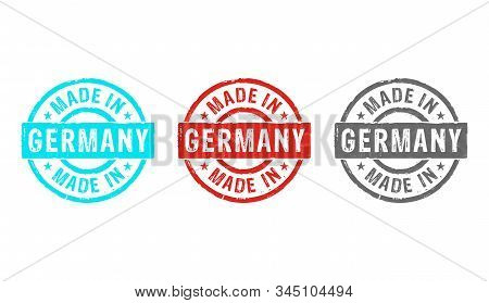 Made In Germany Stamp Icons In Few Color Versions. Factory, Manufacturing And Production Country Con