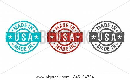 Made In Usa Stamp Icons In Few Color Versions. Factory, Manufacturing And Production Country Concept