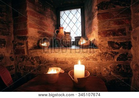 Authentic Medieval Tavern. Interior Of A Tavern.