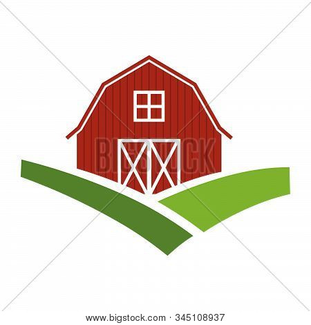 Barn And Green Fields, Vector Graphic Design Element