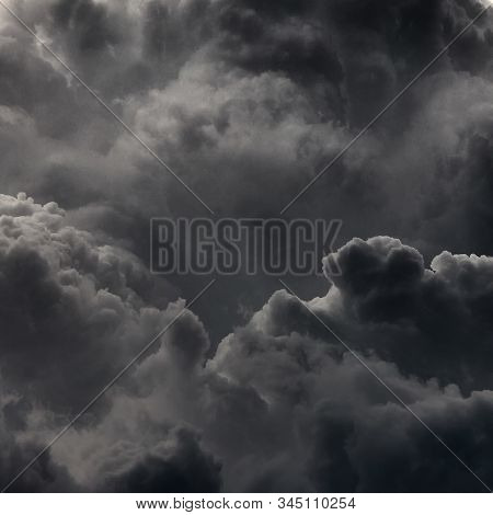 Clouds Background. Dramatic Grey Clouds. Bad Weather, A Large Fire