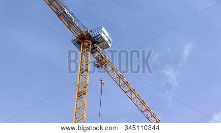Gyor Hungary 12 05 2019 A Liebherr Crane While Working
