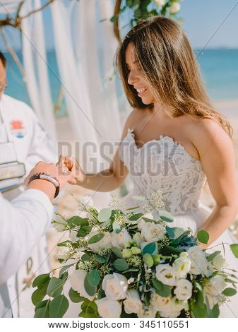 September 3, 2019. Bali, Indonesia. Wedding Ceremony At Tropical Beach. Wedding Arch And Caucasian C