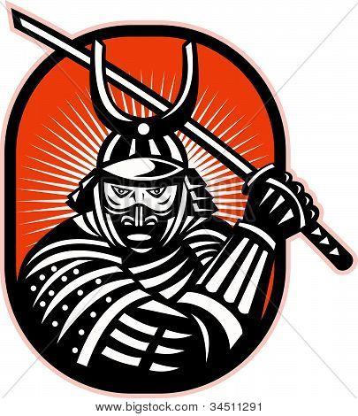 Retro illustration of a samurai warrior brandishing katana sword facing front set inside ellipse. poster