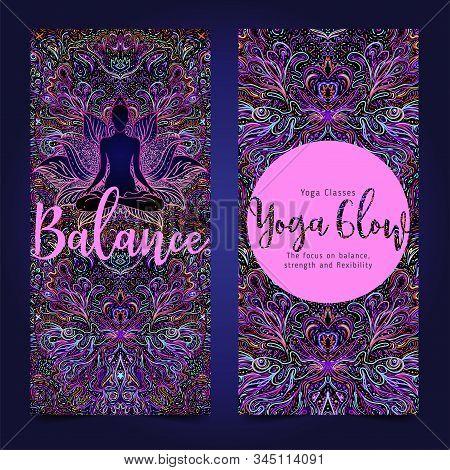Yoga Card, Flyer, Poster, Mat Design. Colorful Neon Template For Spiritual Retreat Or Yoga Studio. O