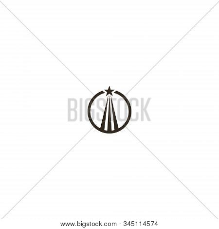 Black And White Simple Flat Art Vector Iconic Sign Of A Soaring Up Star In A Round Frame
