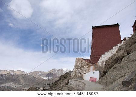 Inside Interior And Architect Of Thiksey Monastery And Namgyal Tsemo Gompa At Leh Ladakh Village Whi