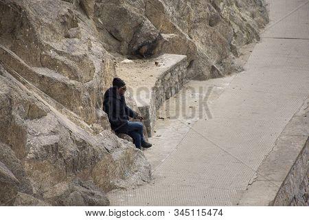 Jammu Kashmir, India - March 20 : Driver Indian And Tibetan Sit Wait Traveler Passenger Visit At Thi