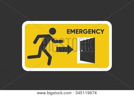Emergency Fire Exit Sign. Man Figure Running To Doorway. Running Man Icon To Door. Fire Exit