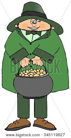 Illustration Of An Irish Leprechaun Holding A Large Pot Gold Coins.