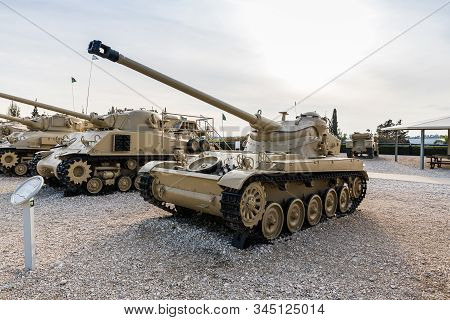 Latrun, Israel, January 14, 2020 : Amx 13 Tank Is On The Memorial Site Near The Armored Corps Museum