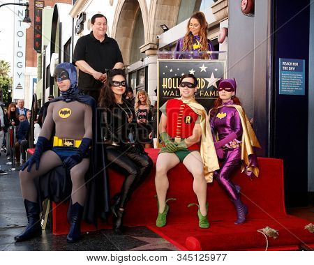 LOS ANGELES - JAN 9:  Burt Ward, Maria Menounos, Batman, Catwoman, Robin, Riddler at the Burt Ward Star Ceremony on the Hollywood Walk of Fame on JANUARY 9, 2020 in Los Angeles, CA