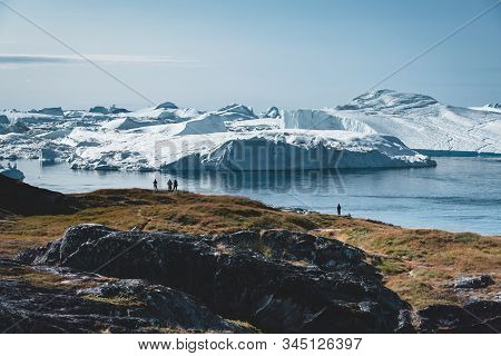 3 People Taken Photo Of Humpback Whale In Ilulissat Diving In Greenland. Easy Hiking Route To The Fa