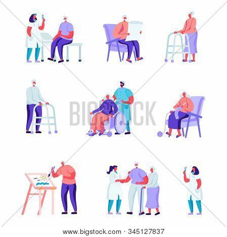 Set Of Flat Older People In A Nursing Home Having Medical Aid Characters. Cartoon People Having Hobb