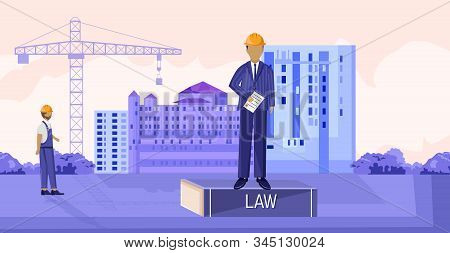 Landlord Reading The Law While Sitting On Podium