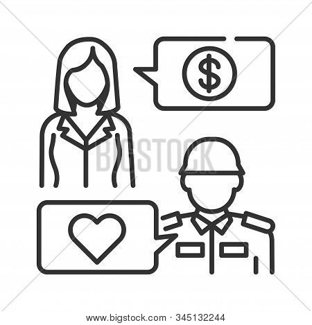 Help Veterans Black Line Icon. Woman And Veteran Soldier In Military Uniform. Help To Pensioners And