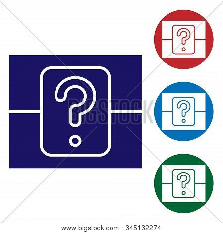 Blue Mystery Box Or Random Loot Box For Games Icon Isolated On White Background. Question Box. Set C