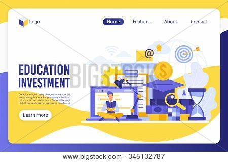 Education Investment Flat Landing Page Vector Template. Student, Learner, Man Reading Book Faceless
