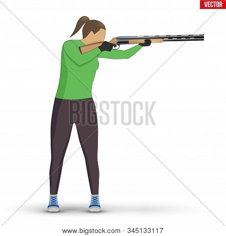 Shooter With Shotgun. Shooting Sport Equipment Illustration. Athlete Shooter Woman Aiming. Vector Il