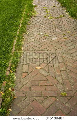 Criss Cross Red Old Brick Path Walkway