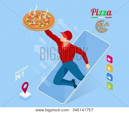Ecommerce Concept Order Food Online Website. Fast Food Pizza Delivery Online Service. Flat Isometric