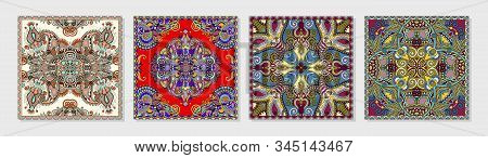 Set Of Authentic Silk Neck Scarf Or Kerchief Square Pattern Design In Ukrainian Style