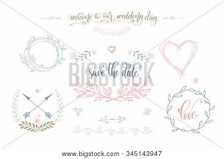Rustic Wedding Vintage Element Set For Save The Date Cards, Wedding Invitation