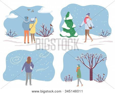 Collection Of Characters Wearing Warm Clothes Walking In Winter Park. Set Of Personages Strolling Th