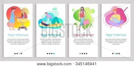 Happy Motherhood Vector, Mommy Feeding Kiddo With Organic Food, Mom Playing With Child Holding On Ha