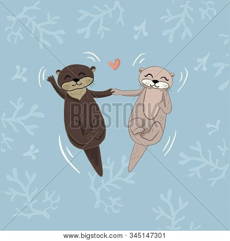 Color Vector Illustration Of Animal Muskrats And Beavers For Valentine Day, Couples In Love On The B