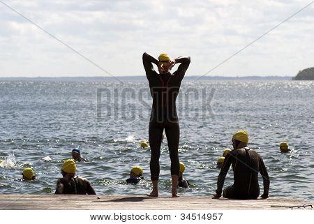 Waiting For Triathlon Swim Start