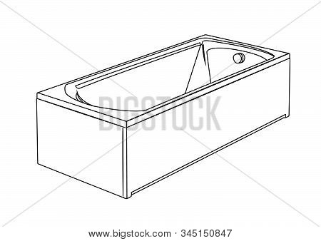 Bathtub Contour Vector Illustration Isolated Realistic Vector Illustration Isolated