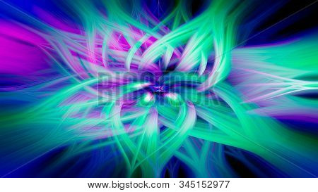 Cgi Abstract Design In The Shape Of A Flower From Twisted Light Fibers. Vibrant Glowing And Colorful