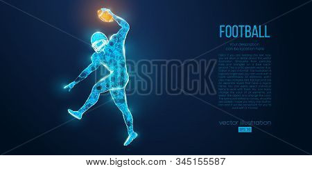 Abstract Football Player From Particles, Lines And Triangles On Blue Background. Rugby. American Foo