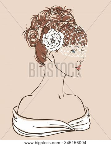 Young Women With Necklace In Profile, Hand Drawn Scetch Fashion Vector Illustration For Bridal Showe